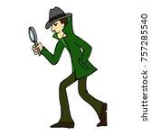 cartoon character. detective... | Shutterstock .eps vector #757285540