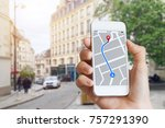 tourist using gps map... | Shutterstock . vector #757291390
