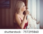 seductive sexy gorgeous middle... | Shutterstock . vector #757295860