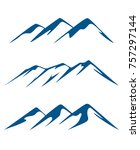 silhouettes of a mountain peak. | Shutterstock .eps vector #757297144