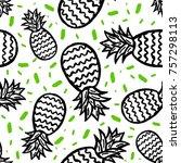 pineapple seamless background | Shutterstock .eps vector #757298113