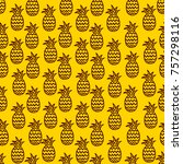 pineapple seamless background | Shutterstock .eps vector #757298116