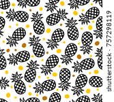 pineapple seamless background | Shutterstock .eps vector #757298119