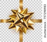 gold bow ribbon decor element... | Shutterstock .eps vector #757298983