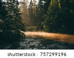 dawn at the river | Shutterstock . vector #757299196