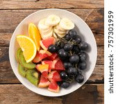 plate with mixed fruits   Shutterstock . vector #757301959