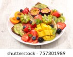 healthy eating vegetarian... | Shutterstock . vector #757301989