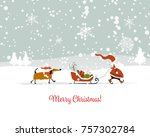 santa claus with dog  symbol of ...   Shutterstock .eps vector #757302784