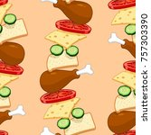 seamless pattern with food    Shutterstock .eps vector #757303390
