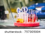 eppendorf tubes in stand filled ... | Shutterstock . vector #757305004