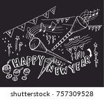 happy new year  sketch   Shutterstock .eps vector #757309528