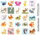 cartoon animals set | Shutterstock .eps vector #757311154