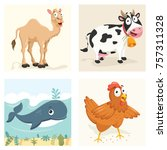 cartoon animals set | Shutterstock .eps vector #757311328