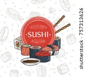 doodle sushi restaurant and... | Shutterstock . vector #757313626
