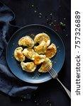 dumplings  pierogi stuffed with ... | Shutterstock . vector #757326889
