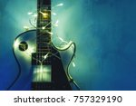 electric guitar with lighted... | Shutterstock . vector #757329190