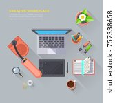 creative workplace objects top... | Shutterstock . vector #757338658