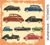 retro car models collection... | Shutterstock . vector #757340476