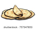 illustration of pita bread  | Shutterstock . vector #757347853