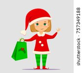 christmas elf cartoon vector... | Shutterstock .eps vector #757349188