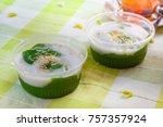 black coconut sweet pudding ... | Shutterstock . vector #757357924