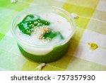 black coconut sweet pudding ... | Shutterstock . vector #757357930