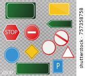 set of road signs isolated on... | Shutterstock .eps vector #757358758