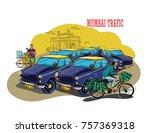 mumbai traffic vector... | Shutterstock .eps vector #757369318