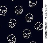 seamless pattern with skulls... | Shutterstock .eps vector #757371379