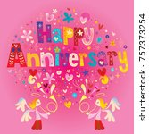 happy anniversary greeting card | Shutterstock .eps vector #757373254