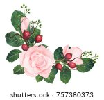 hand painted watercolor roses... | Shutterstock . vector #757380373