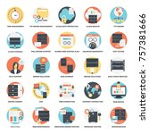 flat icons set of web hosting | Shutterstock .eps vector #757381666