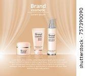 3d realistic cosmetic bottle... | Shutterstock .eps vector #757390090
