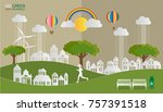 paper art of landscape with eco ... | Shutterstock .eps vector #757391518