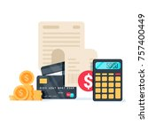 bills  credit cards and... | Shutterstock . vector #757400449