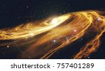 rotating spiral galaxy with... | Shutterstock . vector #757401289