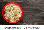 muesli with nuts. muesli on a... | Shutterstock . vector #757405930