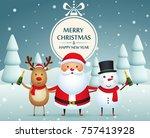 christmas companions  santa...   Shutterstock .eps vector #757413928