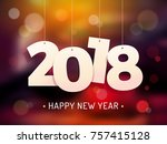 happy new year 2018 background... | Shutterstock .eps vector #757415128