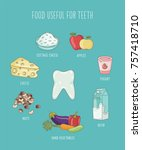 food useful for teeth. cartoon... | Shutterstock .eps vector #757418710