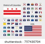 usa flags with the names of... | Shutterstock .eps vector #757430704