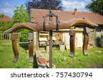 old yoke hung on a pole. | Shutterstock . vector #757430794