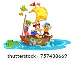Stock vector kids having fun on the boat 757438669