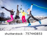 group of friends with ski on... | Shutterstock . vector #757440853