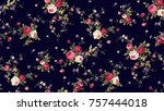 Stock photo flower pattern navy background 757444018