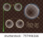 vector pince nez and monocle.... | Shutterstock .eps vector #757446166