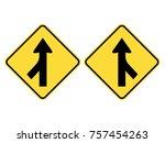 left   right merging traffic... | Shutterstock .eps vector #757454263