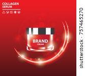 collagen skin care red serum...   Shutterstock .eps vector #757465270