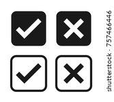 check box list icons set  black ... | Shutterstock .eps vector #757466446