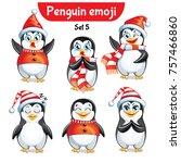 vector set of christmas penguin ... | Shutterstock .eps vector #757466860